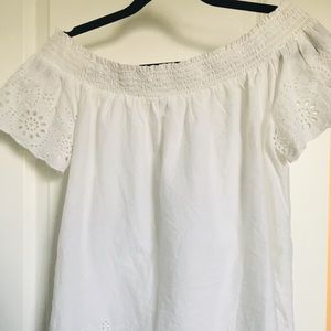 Off the shoulders lace white shirt